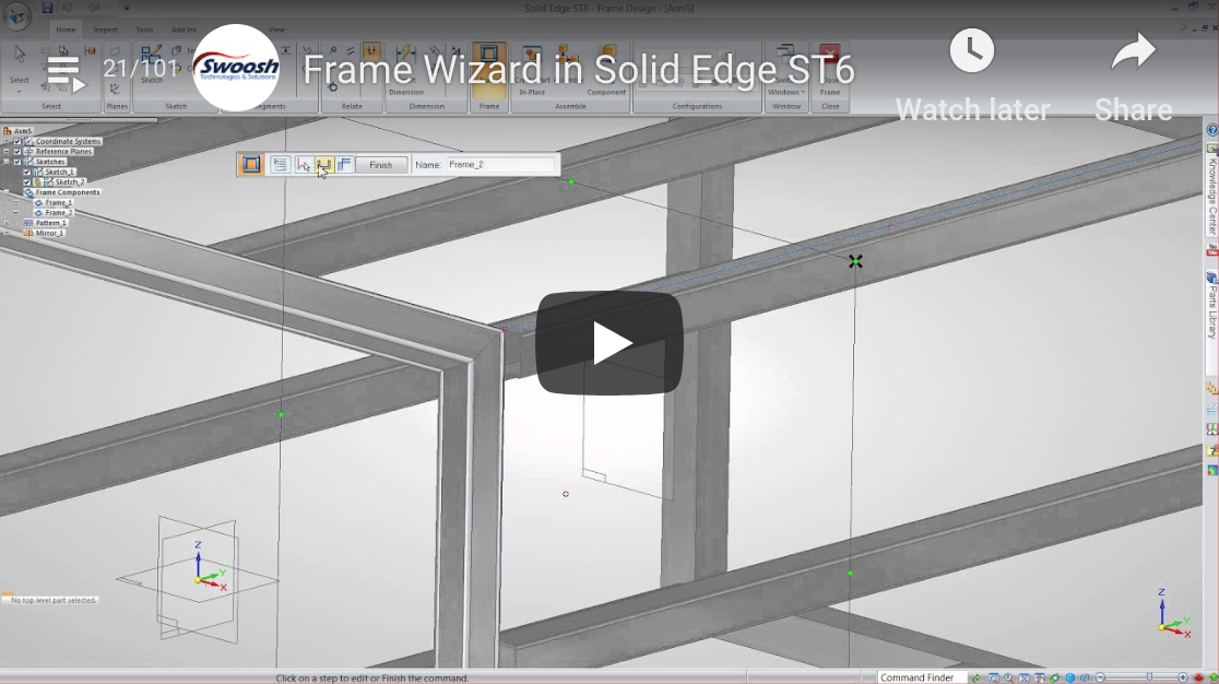 Creating 3D Frames in Solid Edge ST6