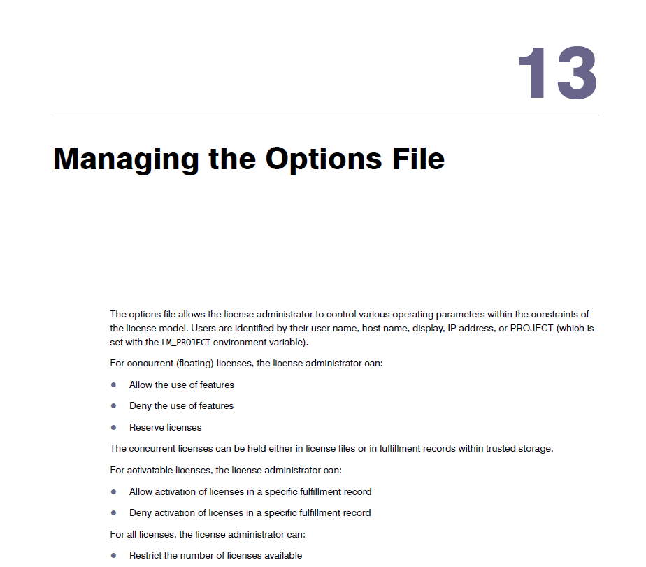 managing the options file