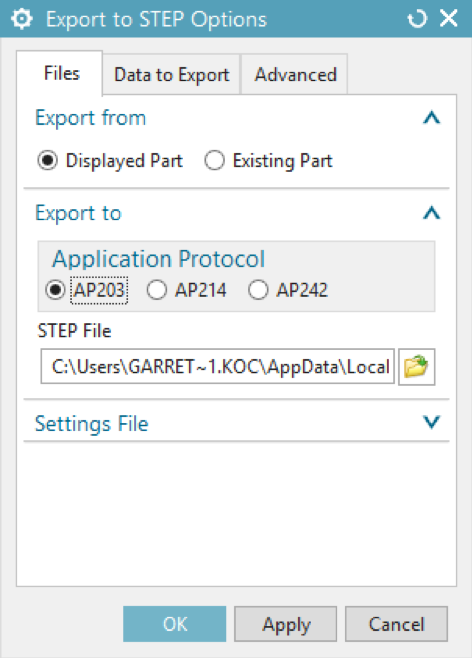 Export to STEP Options