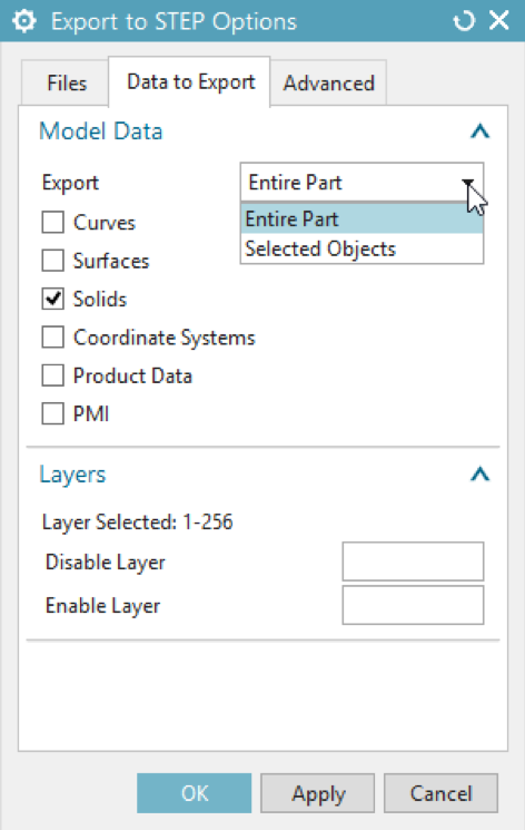 Export to STEP Options - Entire Part