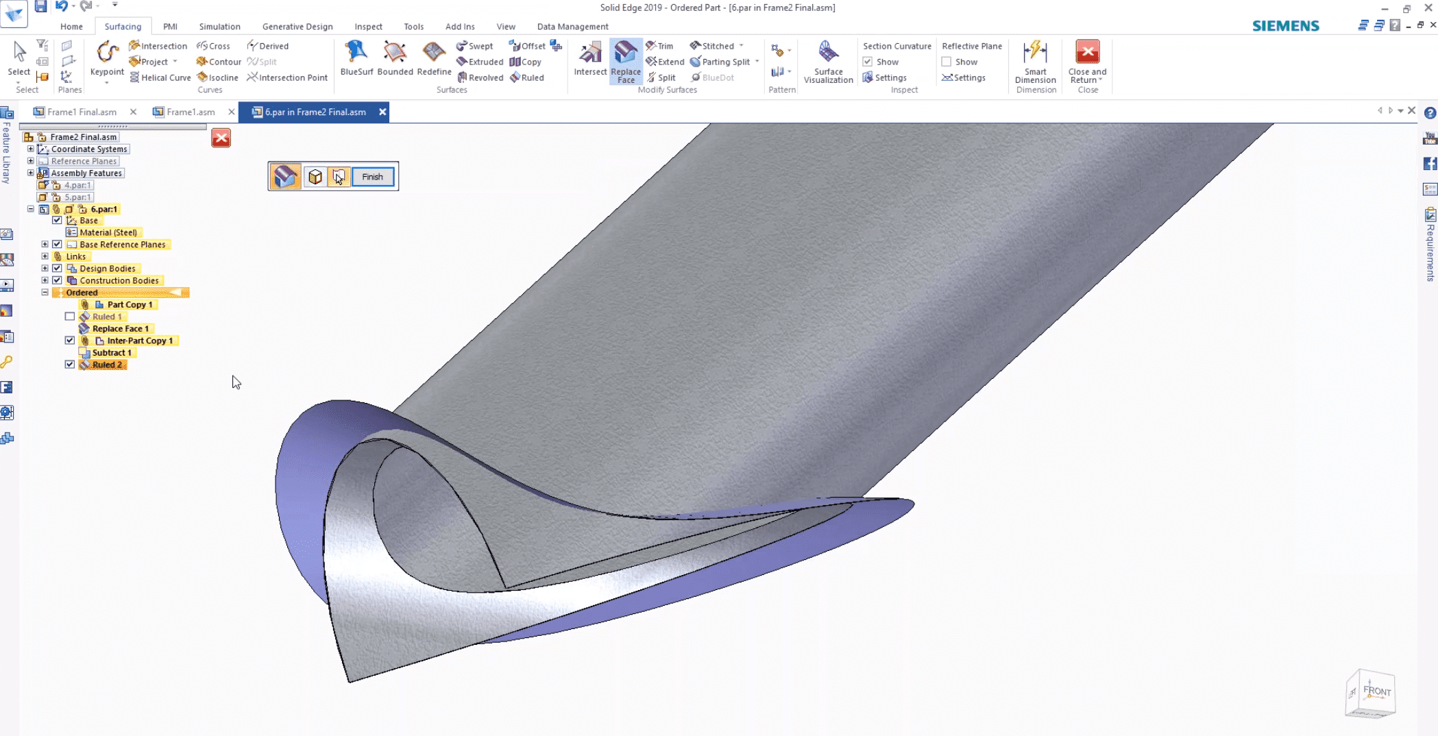 How to Create a Smoother Frame Profile in Solid Edge Using Ruled Surface