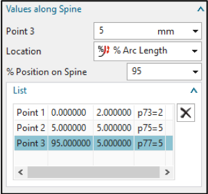 values along spine, nx cad
