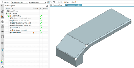 Sheet metal part with a few features in NX