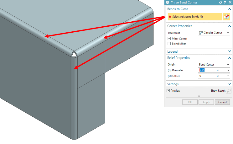 Selecting the 3 bends for the flanges of the corner.