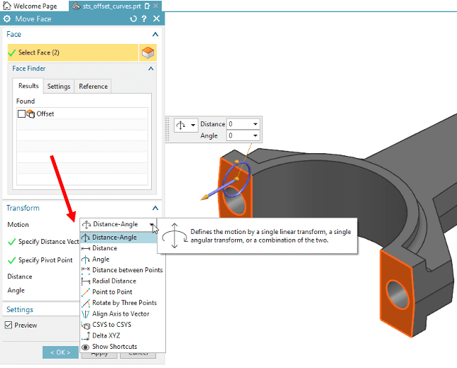 Selecting the type of motion from a dropdown using the Move Face tool in NX Synchronous Modeling.