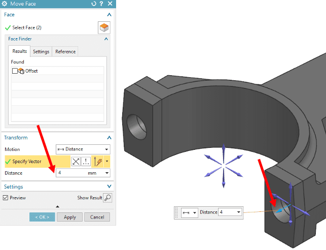 Selecting a distance value for the Move Face tool in NX Synchronous Modeling
