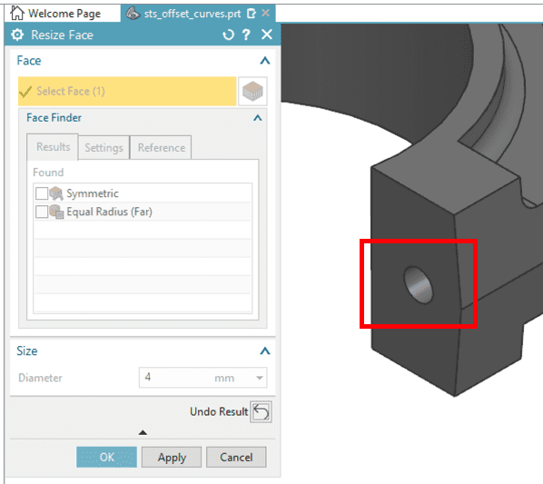 Enter a new radius, resize face, Synchronous technology in NX