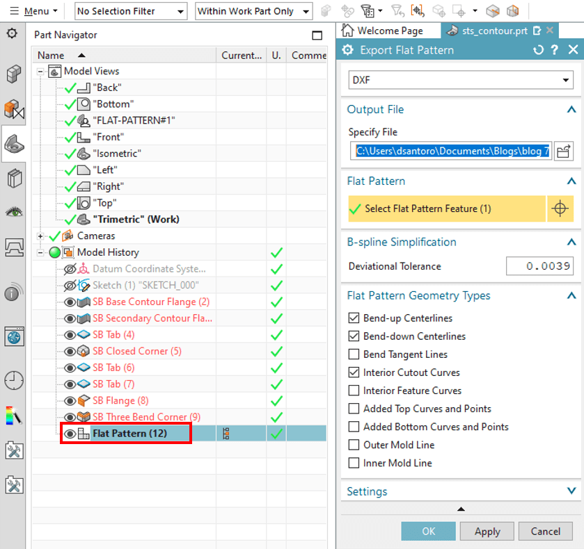 Exporting the Flat Pattern from the Flat Pattern Drop Down