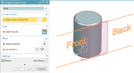 Wrapping Text to NX Curved Surface