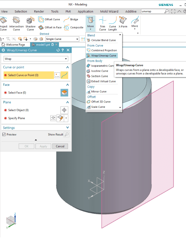 Wrap / Unwrap Curve Surfaces in NX