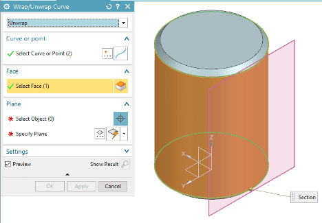 Select Face in the Wrap/Unwrap Curve Settings