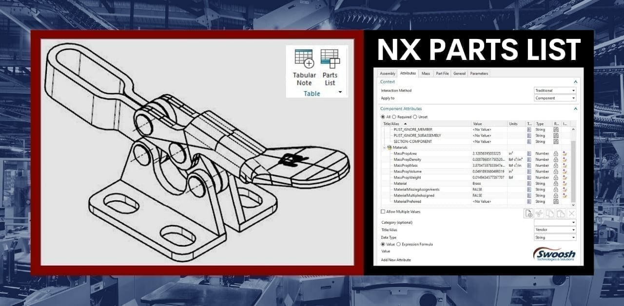 Adding Part Attributes to an NX Parts List